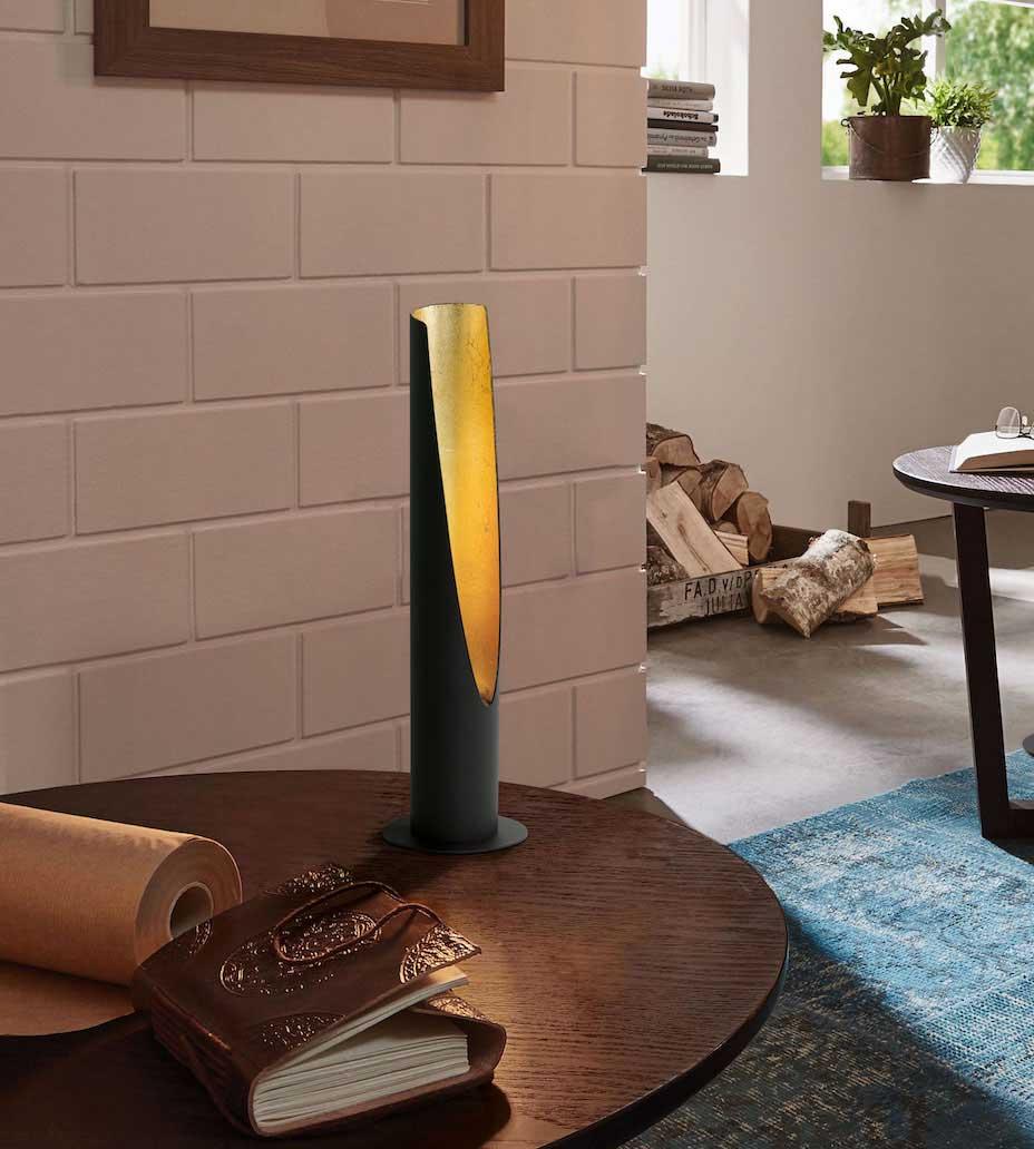 LED Tischlampe BARBOTTO schwarz gold im Wohnzimmer 97583