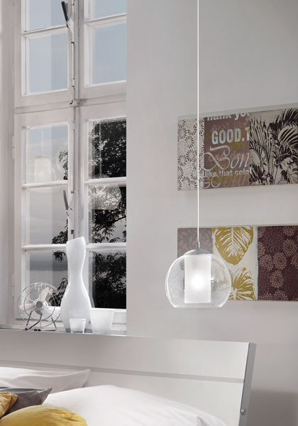 Pendelleuchte Glas BOLSANO im Schlafzimmer 92761