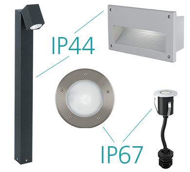 buitenverlichting IP44 en IP67 gecertificeerde