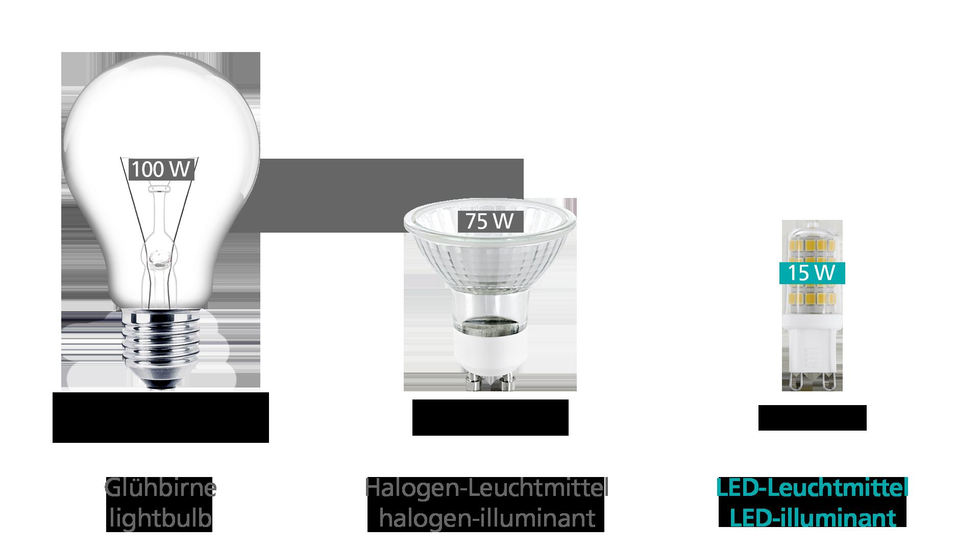 Vergleich Glühbirne, Halogenleuchtmittel und LED Leuchtmittel