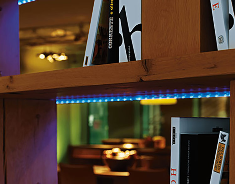 woonruimtes accentverlichting - LED Stripe op de plank