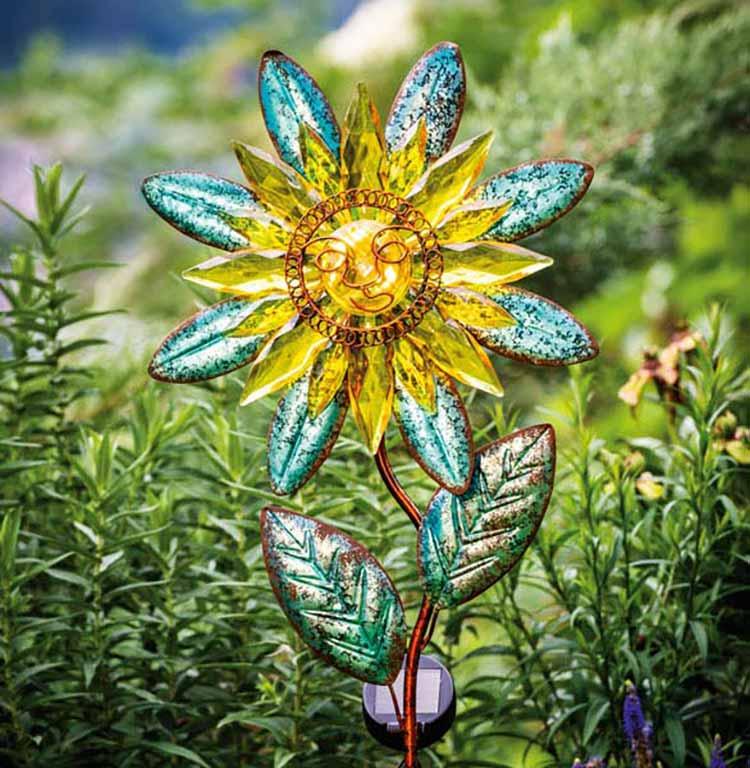 Solarleuchte mit Erspieß Blumenmotiv 48716