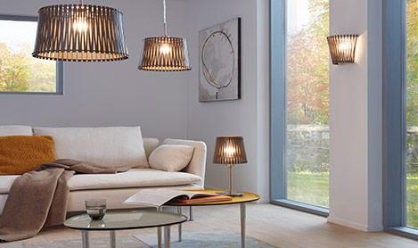 Räume Wohnzimmer mit Leuchtenserie